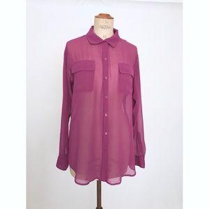 Purple sheer button down CAbi shirt sz:L Summer